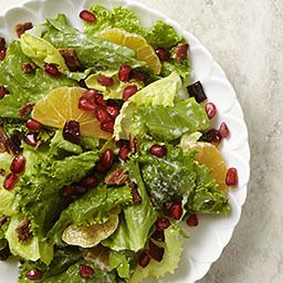 Mixed Green Salad with Pomegranate, Dates