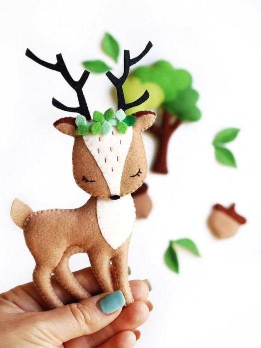 Notitle Gefilzte Hasen Wald Tiere Mit Der Nadel Gefilzt Tiere Miniatur Tiere Wollfilz Tiere Tier Spielze Felt Toys Patterns Felt Toys Baby Mobile Felt