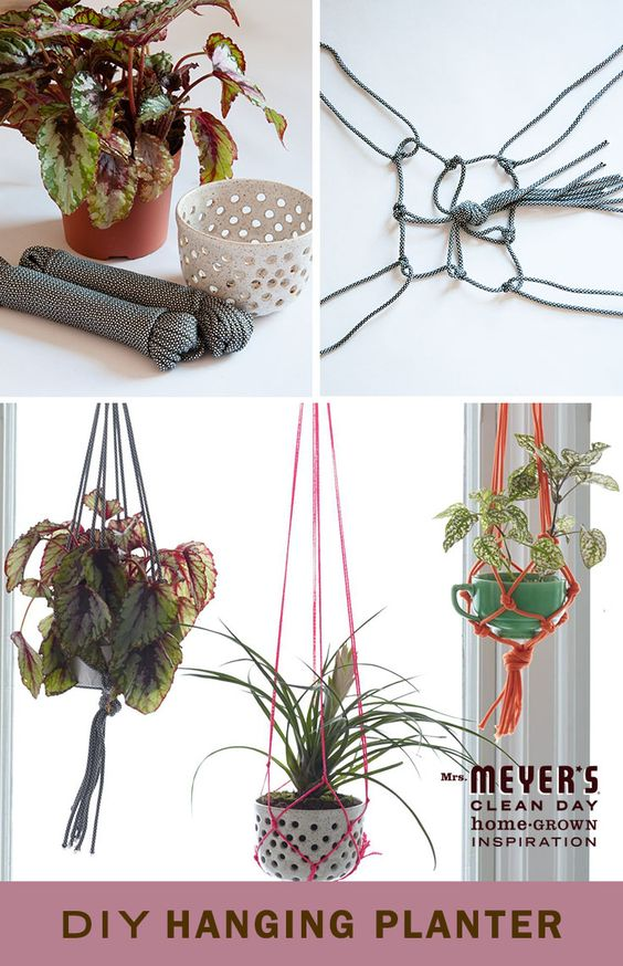 This intricate-looking planter is surprisingly easy to make at home. Just follow the steps to transform nylon or cotton rope into a decorative home for your favorite houseplant.: