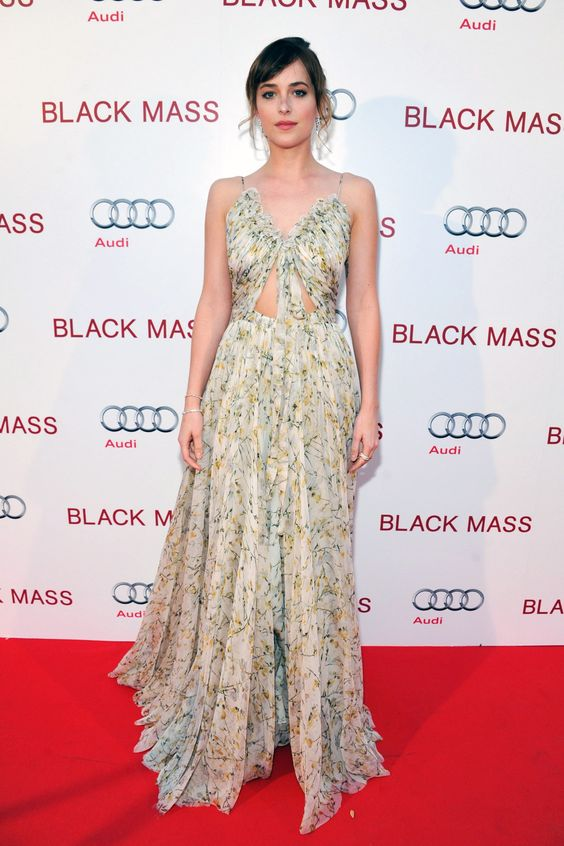 Dakota Johnson in a dress by Alexander McQueen.