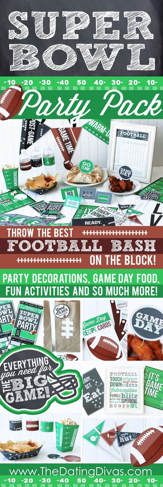Football is a BIG deal at my house! My whole family would just go nuts over this Super Bowl Party Pack! SO fun!! www.TheDatingDivas.com