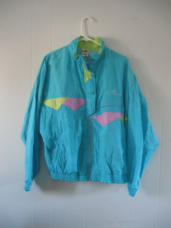 Vintage 90s Puma Windbreaker Neon Ladies Jacket Light Blue Pink