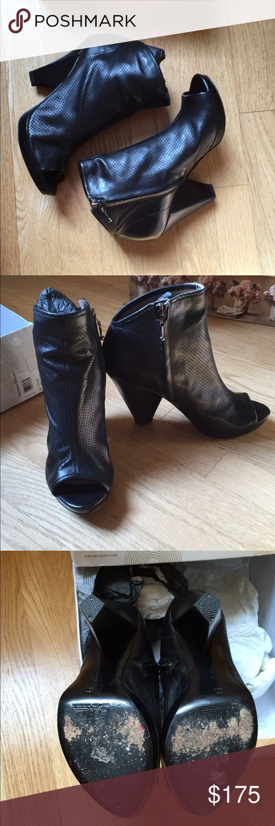 Belle by Sigerson Morrison Booties Shiny black leather peep-toe boogie. Previously worn but in good condition! Come with original box. Open to reasonable offers! Belle by Sigerson Morrison Shoes Ankle Boots & Booties