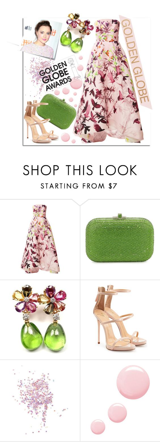 """""""Golden Globe Nominee Saoirse Ronan"""" by maranella ❤ liked on Polyvore featuring Post-It, Monique Lhuillier, Judith Leiber, Bulgari, Giuseppe Zanotti, Topshop and GoldenGlobes"""