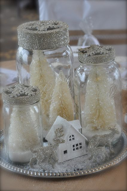 Mason jar centerpieces winter wonderland affaire via