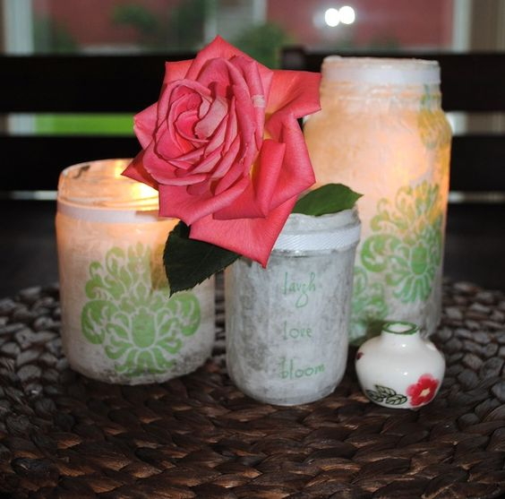 Craft pretty lanterns out of recycled mason jars, tissue paper and Mod Podge.