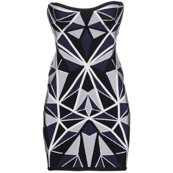 Hervé Léger By Max Azria Short Dress (£359) ❤ liked on Polyvore featuring dresses, blue, blue mini dress, blue sleeveless dress, sleeveless jersey dress, short dresses and pocket dress