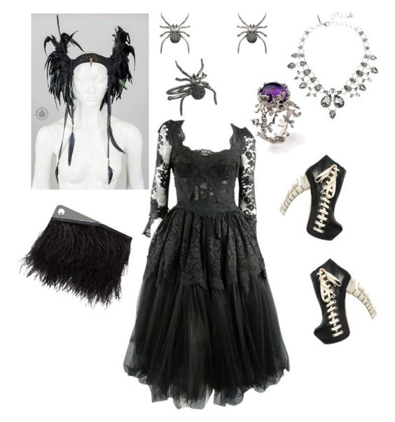 Halloween Is Almost Upon Us Fashion Fun Spiders Black Feathers by mrshellokitty0924 on Polyvore featuring polyvore moda style Dolce&Gabbana Dsquared2 McQ by Alexander McQueen Oscar de la Renta Christina Debs