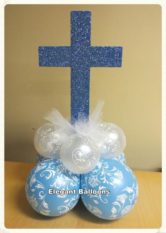 Christening balloons, Balloon centerpieces and Communion ...