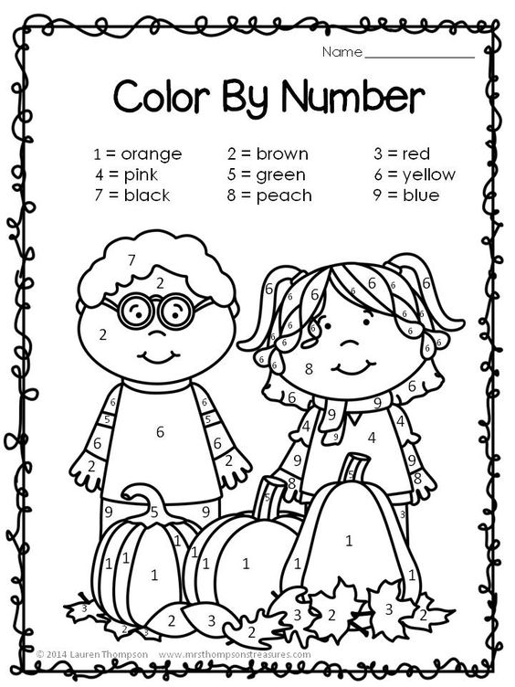 Number names worksheets halloween activities for for Preschool pumpkin coloring pages