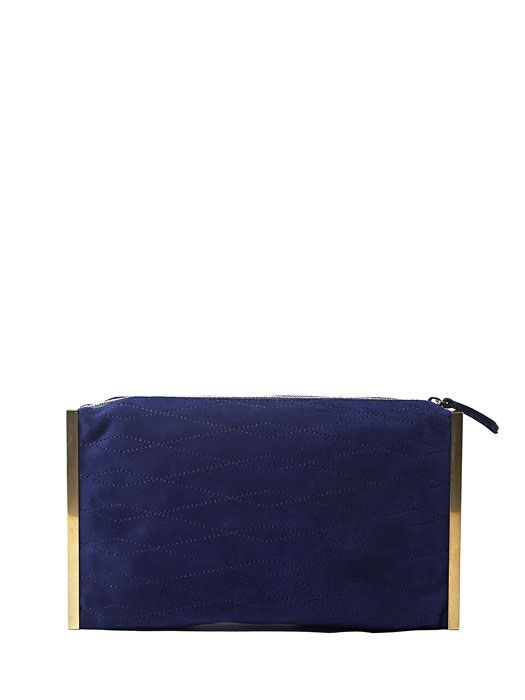 Lanvin Womens Quilted Suede Clutch Bag