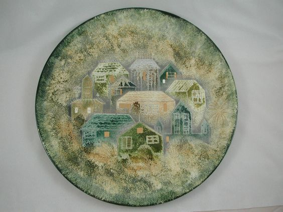 "Sascha Brastoff 14"" Plate Rooftops Houses Gold Teal Turquoise Blue Cream 