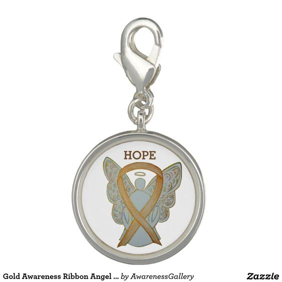 Gold Awareness Ribbon Childhood Cancer Angel Jewerly Bracelet Charm