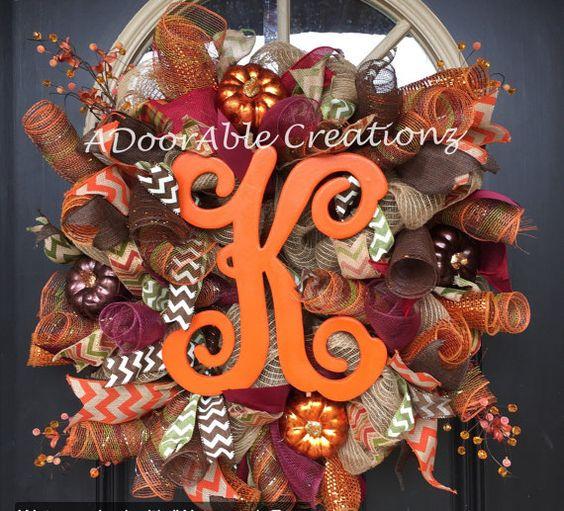 Monogram Fall Wreath Orange Fall Mesh Wreath by ADoorAbleCreationz