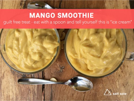 Mango Smoothie - This is a nice thick dairy free smoothie that we eat with a spoon, we tell ourselves its ice cream, but we think it tastes even better