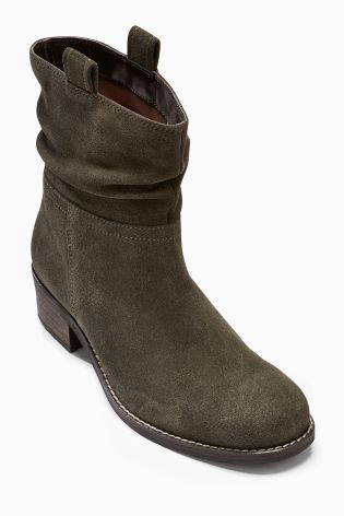 Buy Leather Square Toe Slouch Ankle Boots from the Next UK online