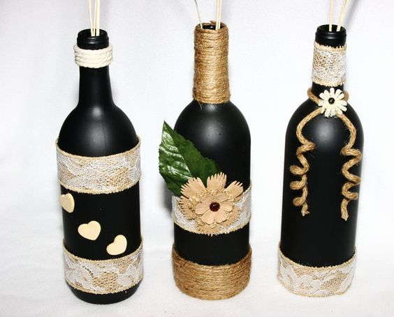 Decorated wine bottles black with tan trim floral hearts for Wine bottle decorations handmade