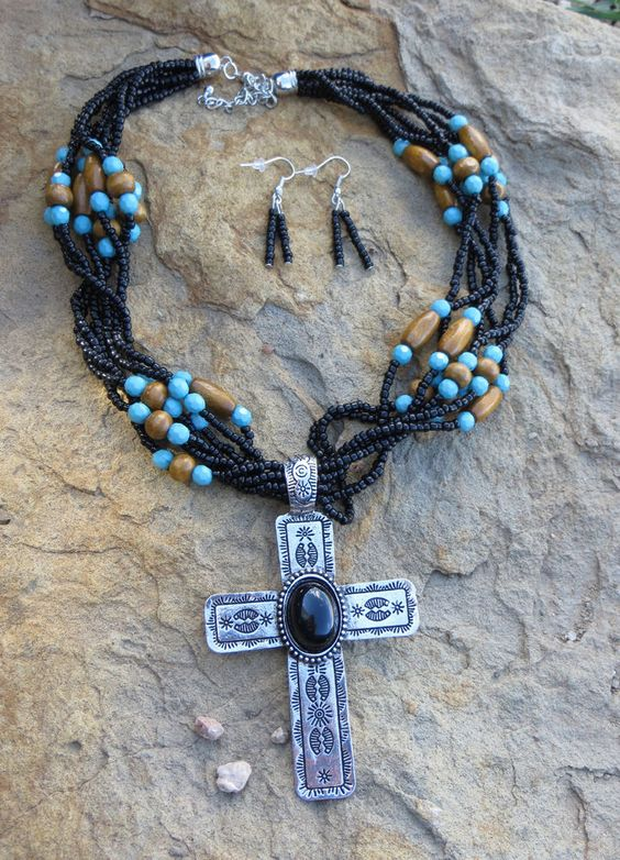 Cowgirl Bling Santa Fe Silver CROSS Turquoise Indian Black Bead necklace set #tres