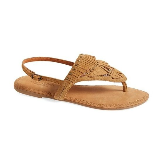 ZiGi girl 'Farza' Embellished Fringe Flat Sandal (290 BRL) ❤ liked on Polyvore featuring shoes, sandals, tan suede, fringe flat sandals, tan strappy sandals, flat sandals, beaded sandals and strap sandals