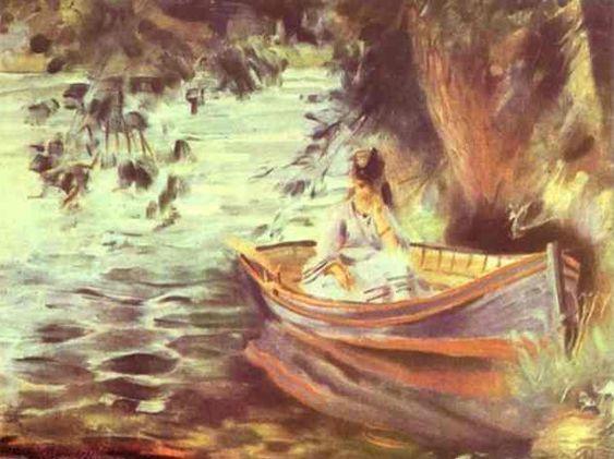 Pierre-Auguste Renoir >> Femme dans un bateau  |  (huile, reproduction, copie, tableau, oeuvre, peinture).