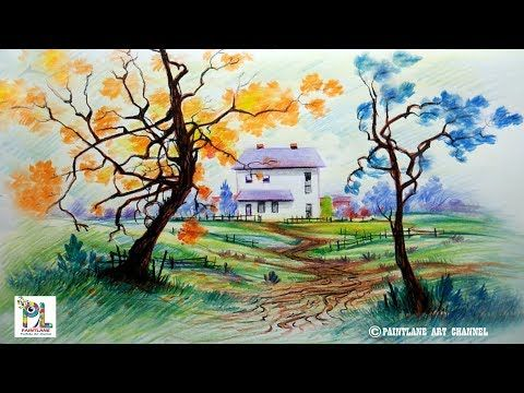 How To Draw A Very Easy And Simple Colorful Landscape Pencil Shading Drawing Scenery Landscape Drawings Colorful Landscape