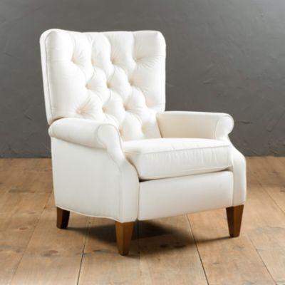 Morrison Tufted Recliner | Ballard Designs - Diamond Trelis Raised White on White Upholstery with Walnut Legs