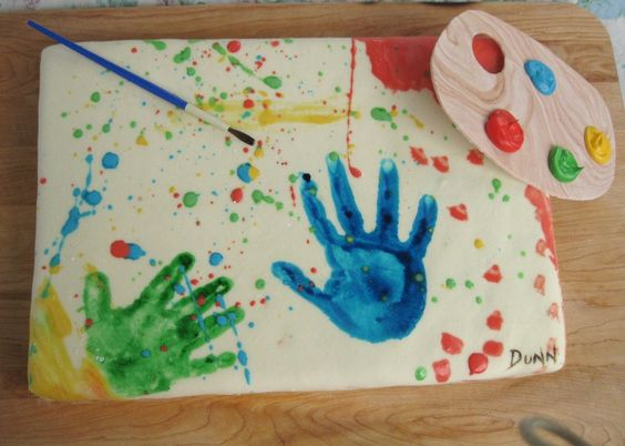 """For a double birthday for my two and four-year-old kids. The party theme was getting messy, and one of the party activities was painting. I let the kids paint on a """"canvas"""" of rolled fondant with edible """"paint"""" made from thinned icing, then attached it to the cake and added a palette I made out of gum paste and royal icing. The kids loved that they got to paint and put their own hand prints on their cake."""