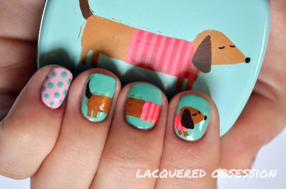 Dachshund from a tin nail art by Lacquered Obsession - Nailpolis ...: