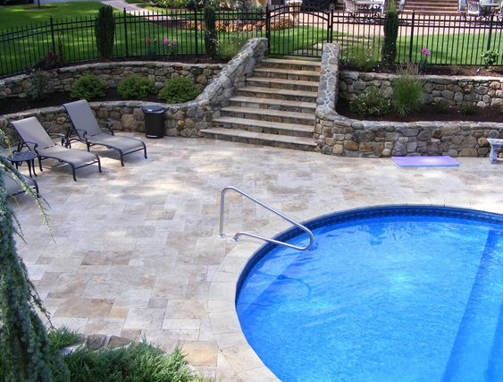 Drawing of Falling in Love with Travertine Pavers Pool Deck