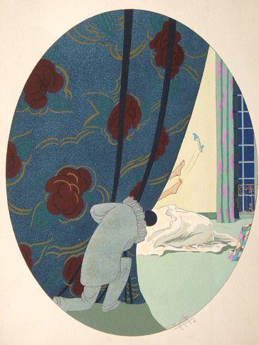 Art deco original pochoir ettore tito signed 1925 italian for Pochoir deco