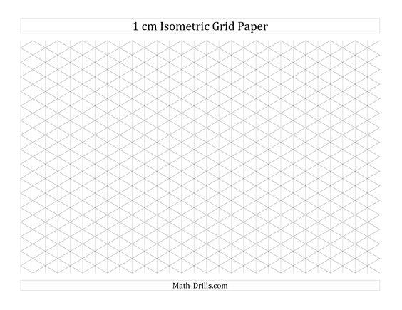1 cm Isometric Grid Paper (Landscape) (A) Math Worksheet #freemath - math graph paper