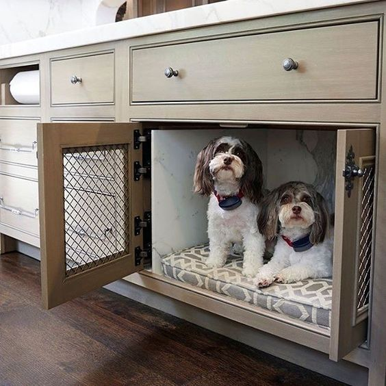 Cantley and Company has our vote for cutest display models! How amazing is this custom made built-in dog bed?!:
