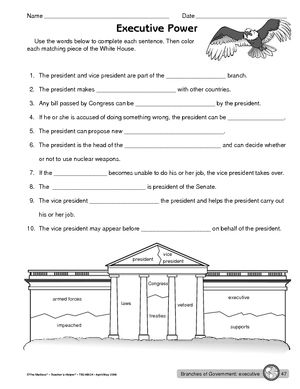 Worksheet: executive branch of government | smart kids | Pinterest ...