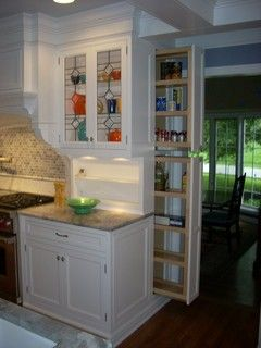 Narrow pullout pantry in two sections