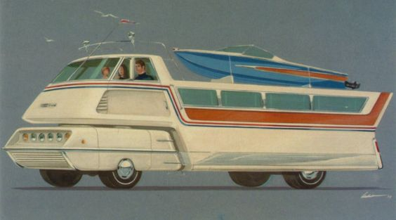 "Illustrated by Richard Arbib in 1972, this enormous ""leisure-mobile"" of the future was called the GM Bonanza. It looks like it wouldn't have done very well during the 1970's oil crisis. Or at any time when fuel is more than $.03 per gallon, really."