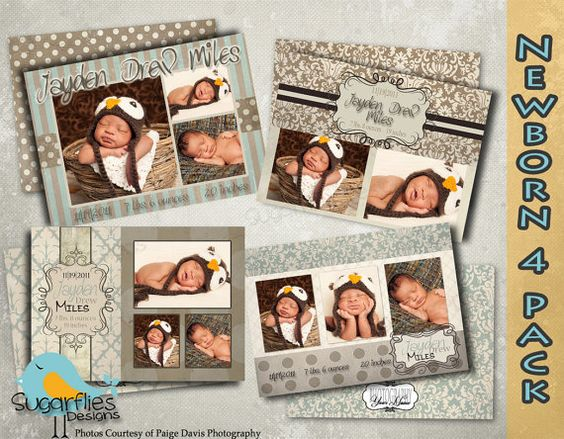 Baby Announcement Templates  Baby Boy Vintage by SugarfliesDesigns, $19.00