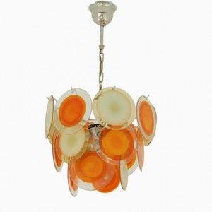 Italian Yellow and Orange Murano Glass Chandelier from Vistosi, 1960s