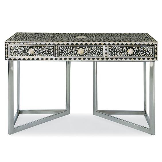 Black & White 2014 Color Trend: Bernhardt Interiors. Padma Desk, handcut bone inlay, mirror polished stainless steel