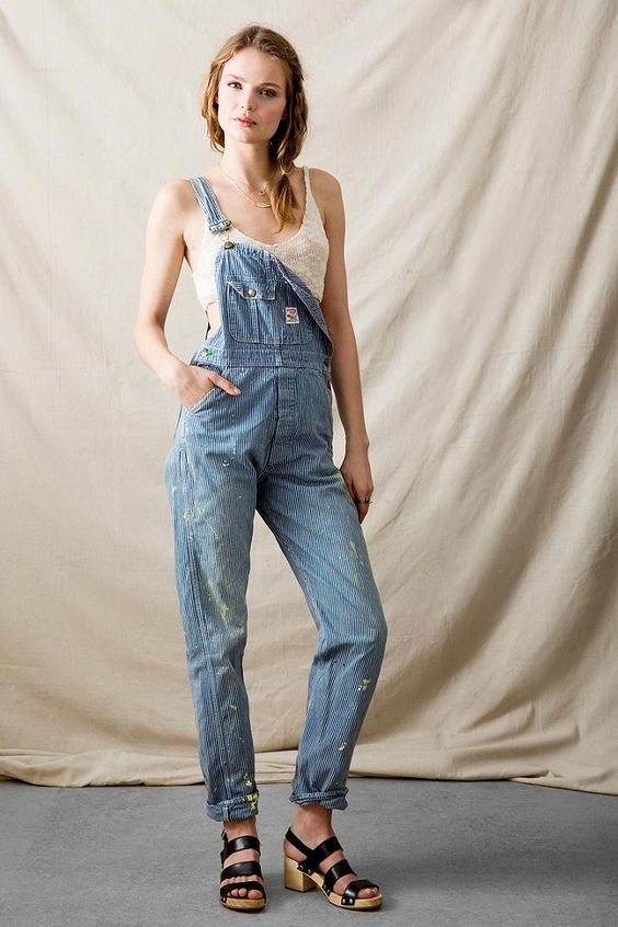 Vintage Engineer Stripe Denim Overall | Urban Outfitters Vintage And Stripes