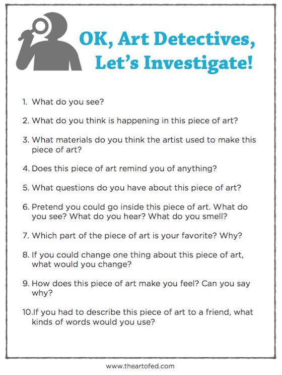 Elementary Art Critique Questions Worksheet
