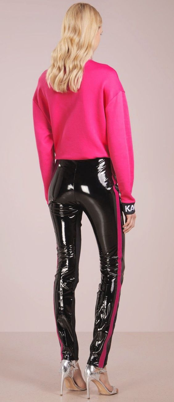 Hot Shiny Vinyl Faux Patent Leather Stretch Leggings Wet Look PVC Pants Trousers