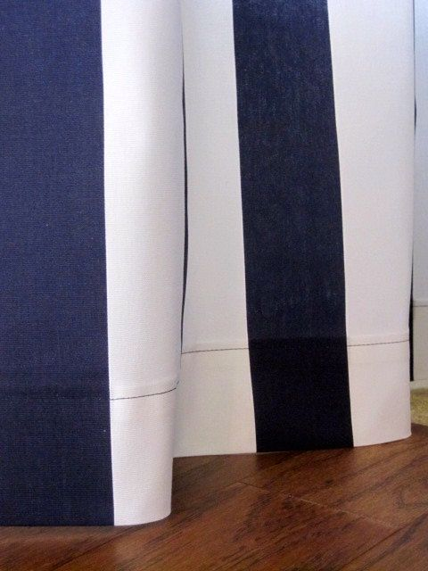 2 Curtains, Drapes, Window Curtains, Set of 2 Navy Blue and White ...