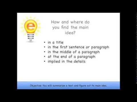 Espark Learning Summarizing The Main Idea Framing Video 4rl2 Main Idea Summarize Learning