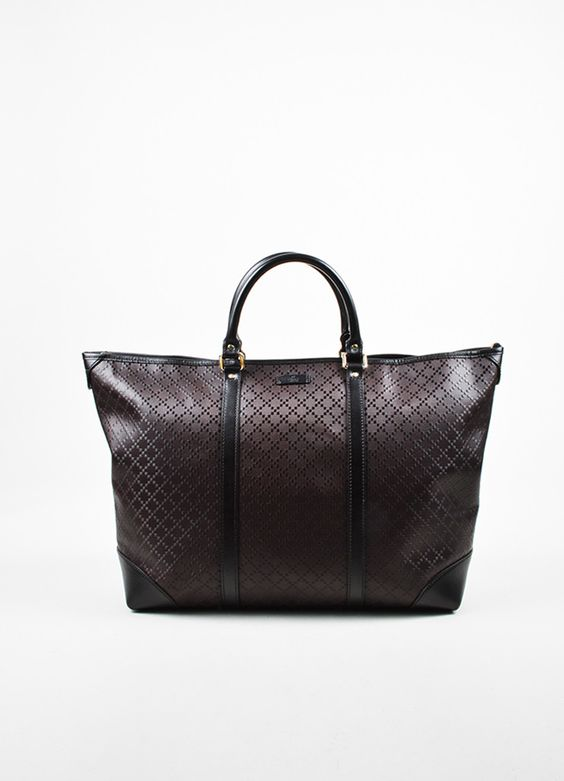 "Men's Gucci Brown Leather ""Medium Hilary Lux Diamante"" East-West Tote Bag"