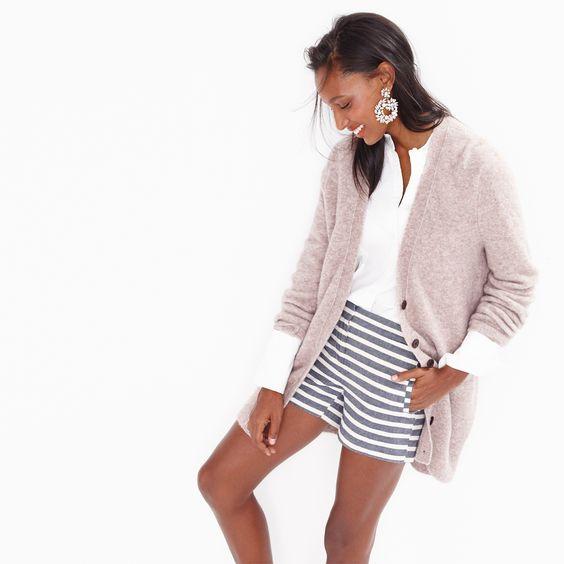 J.Crew Looks We Love: women's long V-neck cardigan, Thomas Mason® for J.Crew mandarin-collar tuxedo shirt, striped cotton short and crystal wreath earrings.: