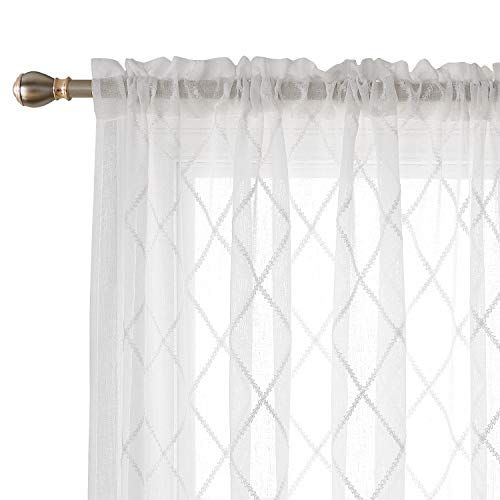 Deconovo Trellis Embroidered Curtains Faux Linen Curtains Https