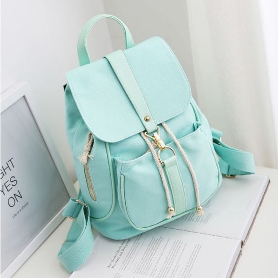 I like this! Lovely Mint Green Canvas Schoolbag Sweet Student Buckle Solid Backpack only $24.99 from ByGoods.com!