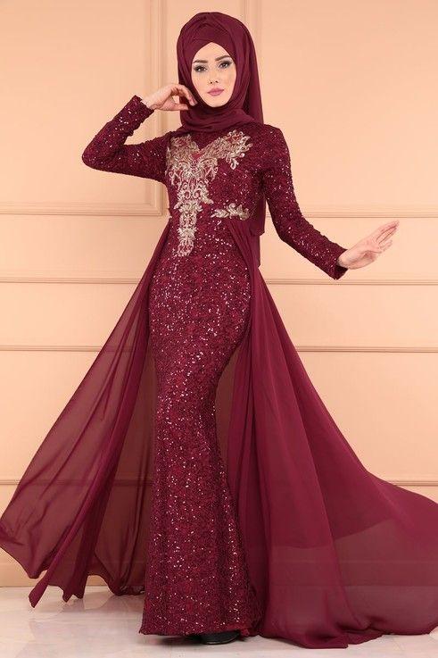 Modaselvim Abiye Payetli Tesettur Abiye Pn2010 Bordo The Dress Elbise Modelleri Elbise