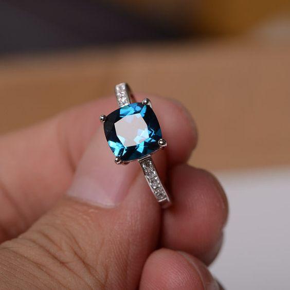 London Blue Topaz Ring Sterling Silver Ring Gemstone