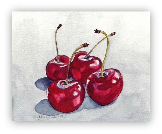 Pintura acuarela cereza cuatro cerezas rojas Nº 2 por jojolarue